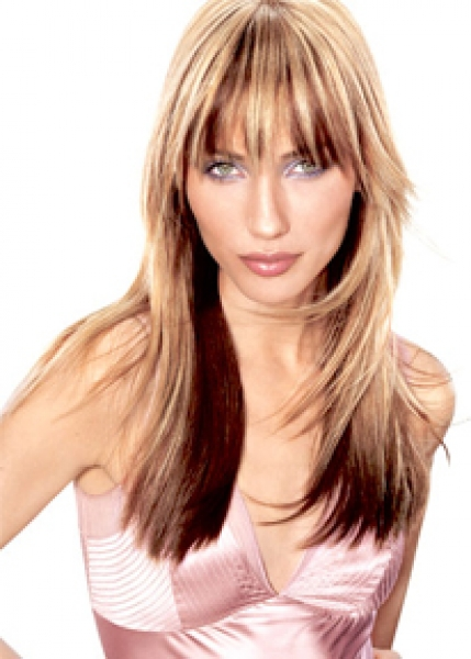 Стрижка на средние волосы в два цвета