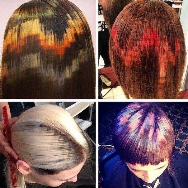 Схемы креативного окрашивания волос