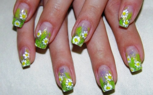 рисунки цветов на ногтях фото