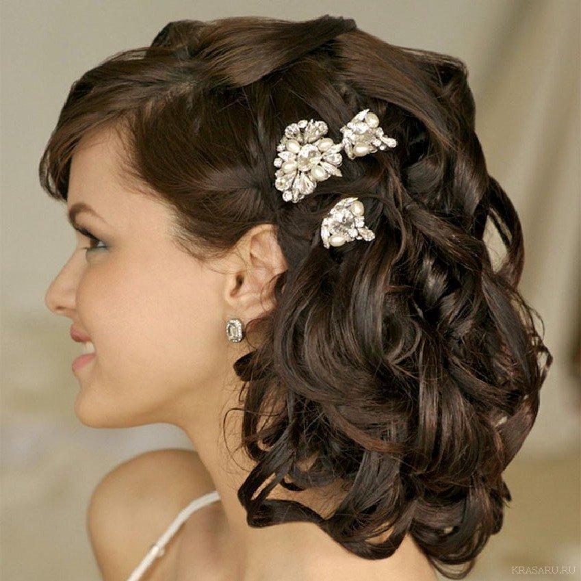 Причёски на волосы средней длины фото на торжество